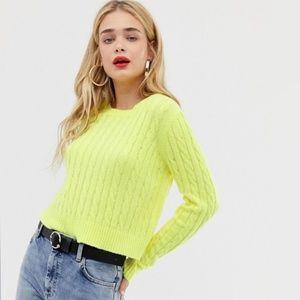ASOS Stradivarius fluro cable knitted sweater